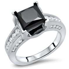 2.55ct Black Princess Cut Diamond Engagement Ring 14k White Gold / Front Jewelers