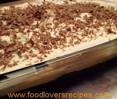 Recipe in Afrikaans. Tart Recipes, Baking Recipes, Sweet Recipes, Dessert Recipes, Yummy Recipes, Cold Desserts, Delicious Desserts, Yummy Food, South African Dishes