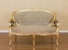 Mobili dorati - oro dorato divano 2 posti con setaimmagine-Divani di soggiorno