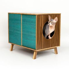 Mid-century mod litterbox by Modernist Cat