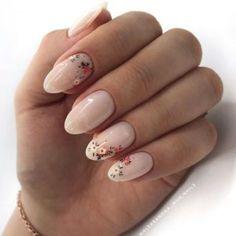 Soft milky nails with flowers Inspiring Ladies Nude Nails, Gel Nails, Nail Polish, Cnd Shellac, Toenails, Minimalist Nails, Nail Art Cute, Natural Looking Acrylic Nails, Acrylic Nails Almond Natural