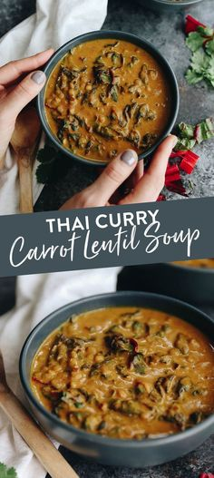 Thai Curry Carrot Lentil Soup – The Healthy Maven Warm up from the inside out with this flavorful Thai Curry Carrot Lentil Soup. A filling soup recipe to enjoy for lunch or dinner with plenty of plant-based protein and a full serving of veggies! Carrot And Lentil Soup, Carrot Curry, Curried Lentil Soup, Lentil Soup Recipes, Healthy Soup Recipes, Vegan Recipes, Chilli Recipes, Thai Recipes, Delicious Recipes