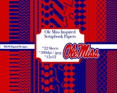 Ole Miss Rebels Inspired Scrapbook Paper Ole Miss Football Red Blue SEC Football…