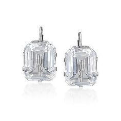 White Topaz Earrings In 14kt White Gold. >>Click on the earrings for more gemstone leverback styles.