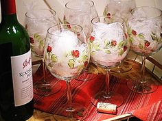 Hand Painted Wine Glasses  - Abstract Red Rose Design with Green Stems, Set of 8 Glassware Handpainted Rustic Wedding Glassware. $88.00, via Etsy.