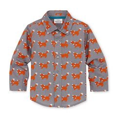 Fox print poplin shirt, $14 by Little Maven