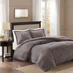 Premier Comfort Kaplan Chevron Brushed Long Fur Comforter Mini Set 2-Color Option