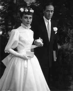 Classic beauty: Audrey Hepburn and Mel Ferrer are pictured on their wedding day on September 24, 1954