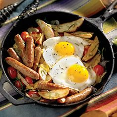 Breakfast Recipes - Breakfast Sausage Skillet with Sauteed Tomatoes and Basil- to shorten cook time, you can substitute with frozen potato wedges instead of fresh potatoes Breakfast Sausage Recipes, Breakfast Skillet, Breakfast Time, Best Breakfast, Brunch Recipes, Savory Breakfast, Breakfast Sausages, Campfire Breakfast, Brunch Food