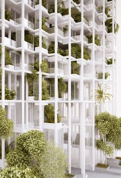 The Vijayawada Garden Estate, designed by Beijing-and-Vienna-based architecture firm penda, is a concept for a mixed-use residential building that combines high-rise density with organic elements to create a natural, urban living experience. Green Architecture, Sustainable Architecture, Landscape Architecture, Landscape Design, Architecture Design, Building Facade, Green Building, Luxury Mobile Homes, Modular Housing