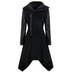Plus Size Faux Leather Sleeve Oblique Zipper Coat - Black 2xl Mobile