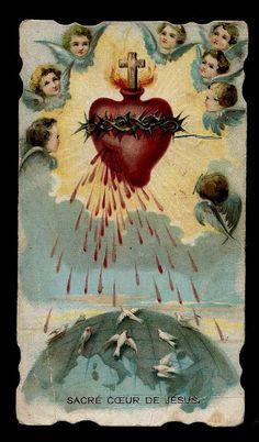 Qc  Holy Card   Die  Cut   Sacré Coeur de Jésus RARE