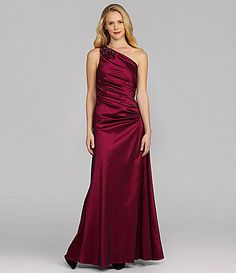 Hailey By Adrianna Papell Ruched One-Shoulder Gown.  Color: Ceris.  Wearing to the AHA Ball...