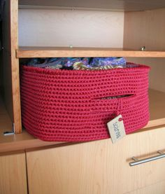 Basket crocheted from macrame cording for sturdiness