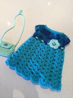 Crochet doll dress and purse American girl dress and purse 18