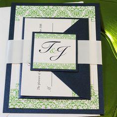 Elegant Wedding Invitations Green and Navy Damask por JWDPaperie