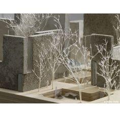 concrete blocks, white spray painted trees, layered timber board ART SITE / mount fuji architects studio design miami/base, Switzerland