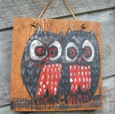 Vintage Owl Painting on Board by lookonmytreasures on Etsy