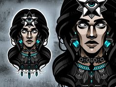 #neo #traditional #dark #girl #tattoo #design #digital #symetric