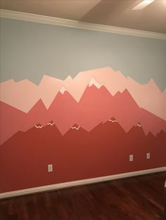 Girl nursery, mountain mural, pink kids-pink-and-blue-mountains-nursery-square-wall-mural