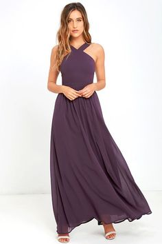 More romantic than a candlelit dinner or a trip to the Eiffel Tower, the Air of Romance Dusty Purple Maxi Dress will have you feeling the love! Lightweight Georgette falls from a modified halter neckline, into a seamed bodice supported by semi-sheer shoulder straps. A sweeping skirt cascades from a banded waist completing this elegant maxi dress. Hidden zipper with clasp.