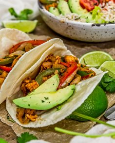 Tex-Mex comfort food at its best, our 20-minute Vegan Soy Curl Fajitas are packed with wholesome veggies, perfect for busy nights, down-right delicious! #wholefoodplantbased #vegan #oilfree #glutenfree #plantbased | monkeyandmekitchenadventures.com Clean Eating Recipes For Dinner, Lunch Recipes, Whole Food Recipes, Dinner Recipes, Healthy Recipes, Vegan Party Food, Vegan Main Dishes, Tex Mex, Fajitas