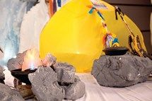 Everest VBS Styrofoam Rocks - Painted Styrofoam does a great job at creating a craggy scene where some little mountaineers may have camped. #EverestVBS #VBS #VBSDecorations
