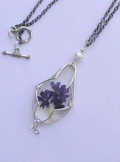 Necklace with natural flowers Blue verbena flower by BBBsDesigns, $18.00