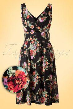 Lindy Bop Black Floral Dress 102 14 16058 20150707 0022W1