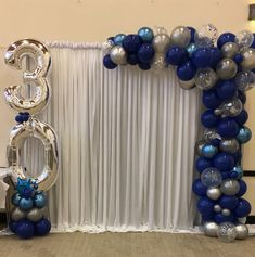 BIRTHDAY 🎈so happy to have done this blue and silver chrome display as a surprise to the birthday boy as arranged by his… 30th Birthday Balloons, Blue Birthday Parties, Birthday Backdrop, 30th Birthday Parties, 50th Birthday, Birthday Quotes, Birthday Beer, Birthday Cakes, Brother Birthday