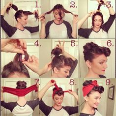 """It's my favorite day of the week… TUTORIAL TUESDAY!!!!! Make sure you read ALLLLL the directions. Here's the step-by-step for this week's Vintage Valentine look: _ 1) place hair in a high ponytail, leaving out the area where your bangs would be 2) separate bang area into three subsections 3) tease each subsection at the base near the scalp 4) roll each subsection to create a """"victory roll"""" and secure with bobby pins (make sure to hide the pins!) 5) place ponytail into a loop bun (similar to how most girls would to go work out or wash their face) 6) pin down the bun however you'd like, making sure the hair looks full 7) take bandana or head tie and place it at the base of the back of your head 8) bring sides of the bandana/ head tie up to the front and tie in a knot 9) make any adjustments you need and you're finished! by heidimariegarrett http://instagr.am/p/VoqLaRmVB8/"""