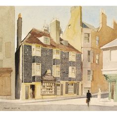 House and Shop in Pool Valley, Brighton, by Charles Knight (1901-90). Watercolour. Brighton, UK, 1940.