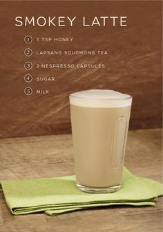 Try something new with this easy Smokey Latte recipe from Nespresso. Honey, Lapsang Souchong Tea, and Cubanía Grand Cru come together to give this one-of-a-kind latte a unique woodsy flavor. Use this easy coffee recipe to make your next Nespresso moment a special one.