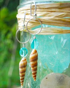 kauai beach spiraled auger shells paired with gem apatite on sterling silver, adove fine jewelry