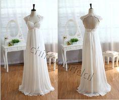 Vintage Ivory lace wedding dress Empire Waist by chiffonbridal, $150.00