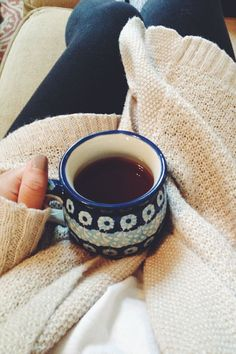 A special mug, your favorite coffee brew and a cozy sweater = the perfect relaxing combination