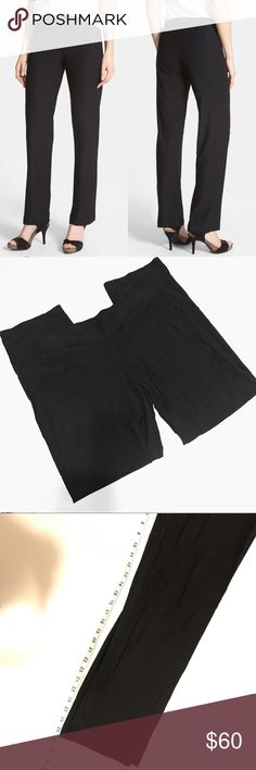 Eileen Fisher | Petite Straight Leg Pant, Black These black Eileen Fisher straight-leg crepe pants are an ideal simple shape. Trustworthy stretch alters this design with a comfortable fit...making getting dressed easy! Elastic waistband. Backside pleats. Petite Medium = size Petite 8-10 (but can also be a looser fitting 6). Smoke free, pet free home! Eileen Fisher Pants