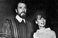 """The actress Audrey Hepburn photographed with her husband Mel Ferrer (actor, dialogue coach and film director) at the Catedral Primada Santa María de Toledo (also known as Catedral Primada de España, and in English: Primate Cathedral of Saint Mary of Toledo) in Toledo (Spain), during a break in the filming of his new movie """"El Greco"""", in September 1964."""