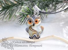 Forest owl, owl pendant, owl necklace, necklace lampwork, glass owl, owl lampwork, owl jewelry, Animal lampwork, birds lampwork, glass