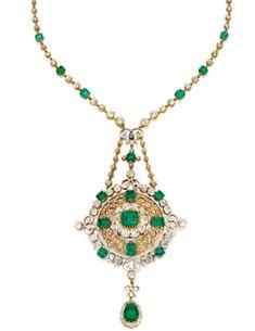 Gold, Emerald, Diamond and Enamel Pendant-Necklace, Circa 1870 - Sotheby's