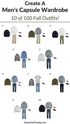 Just For The Men…create a capsule wardrobe for the Fall and Transform Your Closet! Wives…create a capsule wardrobe for your husband! This post is a preview of the eBook, The Men's Capsule Wardrobe: Fall 2017 Collection. I'm sharing a few featured items in the capsule wardrobe, featuring a gingham shirt, plaid shirt, chambray shirt, white shirt, pullover, hoodie, t-shirt, jeans, khaki pants, chinos, blazer / sports coat, bomber jacket.