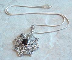 Onyx Marcasite Necklace Sterling Silver Fleur de Lis Ornate Snowflake Vintage 130606 by cutterstone on Etsy  #onyxnecklace #sterlingsilver #vintagejewelry #fleurdelis