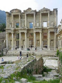 Library of Celsus in Ephesus, Turkey. This library is one of the most beautiful structures in Ephesus. It was a monumental tomb for Gaius Julius Celsus Polemaeanus, the governor of the province of Asia. Places Around The World, Oh The Places You'll Go, Places To Travel, Places Ive Been, Places To Visit, Around The Worlds, Travel Destinations, Wonderful Places, Beautiful Places