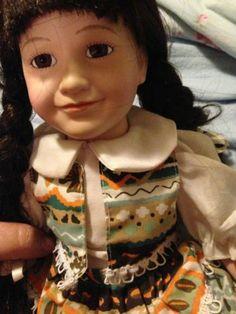 Designs by Yoko Porcelain Doll Brown Hair in Braids Festive Outfit | eBay