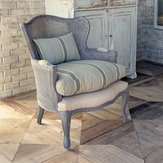 Cane Wing Back Lounge Chair With Cushion