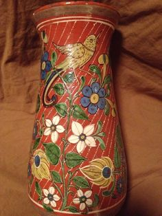 Another view of 1930's Tlaquepaque 'Rain' Pattern pottery Vase. #mexicanstyle…