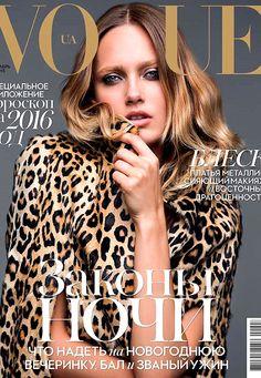 Karmen Pedaru wears Saint Laurent on Vogue Ukraine December 2015 cover by Dusan Reljin [cover] Vogue Magazine Covers, Fashion Magazine Cover, Fashion Cover, Vogue Covers, Vogue Ukraine, Karmen Pedaru, Vogue Australia, Vogue Russia, Vogue Fashion