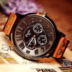 Vintage Mens Watch Black Wrist Leather Watches - Gifts for Him (WAT0029) on Etsy, $16.31 CAD