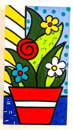 Hand painted by Artist Diego Almeida. Painted Also, on the sides, dispensing frame Frames Romero style Romero de Britto. SIZE: (I make other sizes and models). Be an opinion maker consume Art, value your purchase. Art Drawings For Kids, Easy Drawings, Art For Kids, Arte Pop, Folk Art Flowers, Flower Art, Whimsical Art, Art Activities, Elementary Art