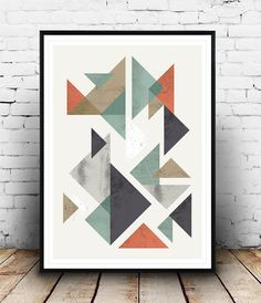 Scandinavian print, geometric print, abstract art, watercolor abstract, triangles prit, nordic desgin, minimalist art, from Wallzilla on Etsy. Saved to Art